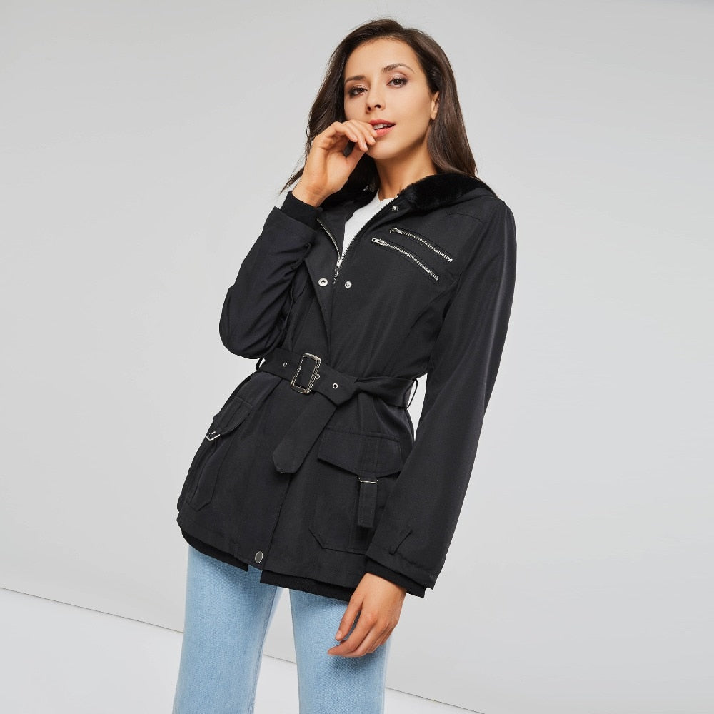 Zippers Belt Hooded Trench Coats