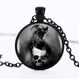 Necklace Pendant Creepy Bat on Skull