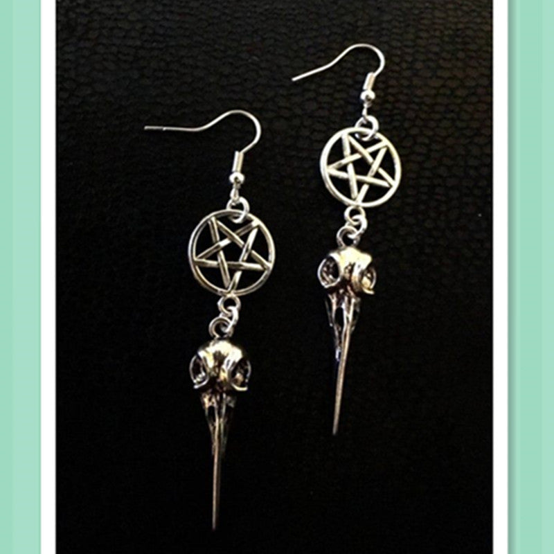 Pentacle And Raven Skull Earrings
