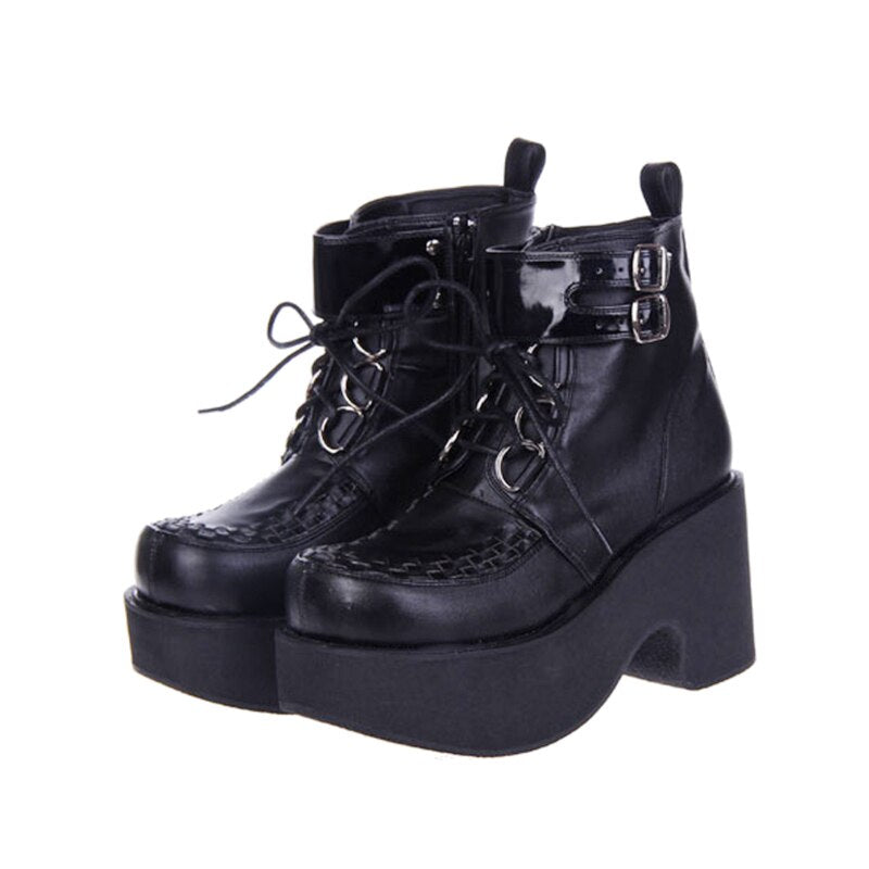 Thick Platform Buckle Strap Ankle Boots