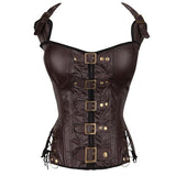 Punk Rock Faux Leather Buckle-up Halter Corset