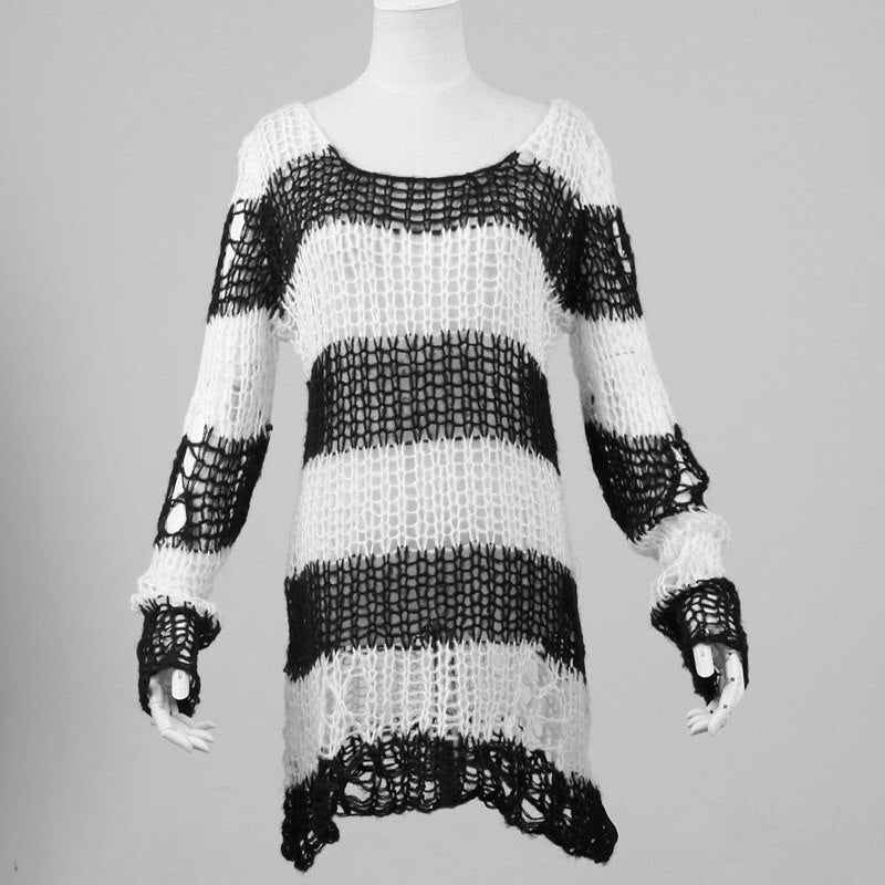 White Stripes Black Steampunk Pullover