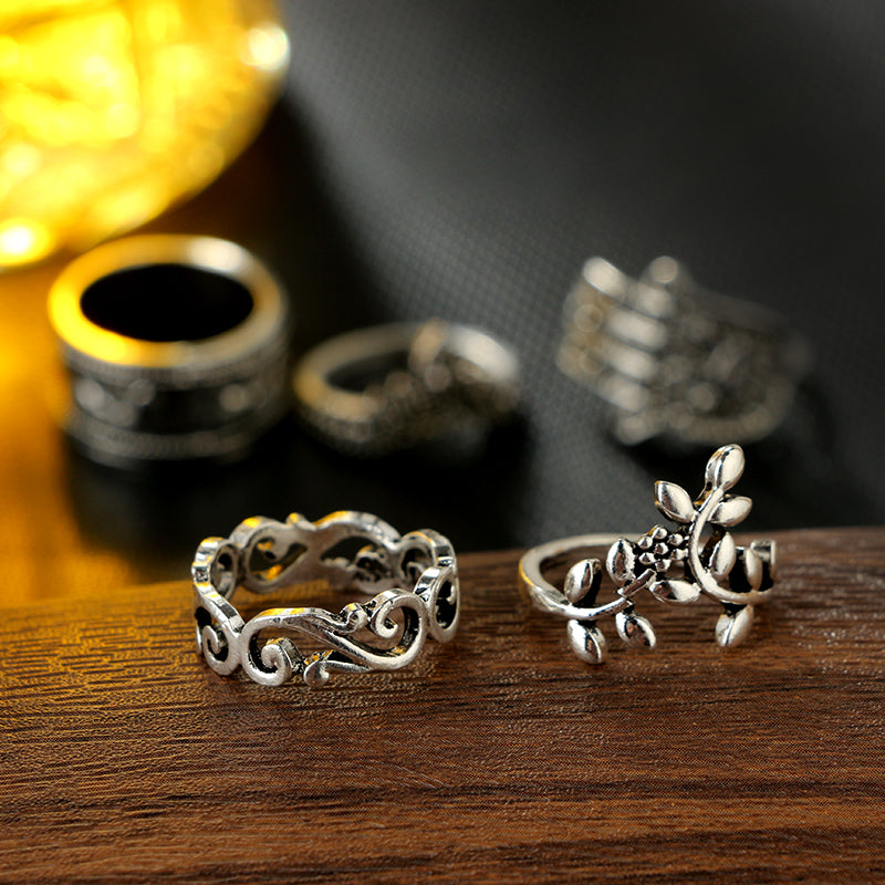 Elephant Flower Rings Set Women
