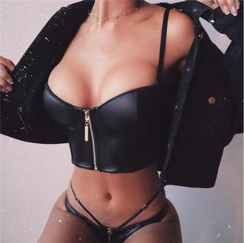 Sexy black leather Crop Tops