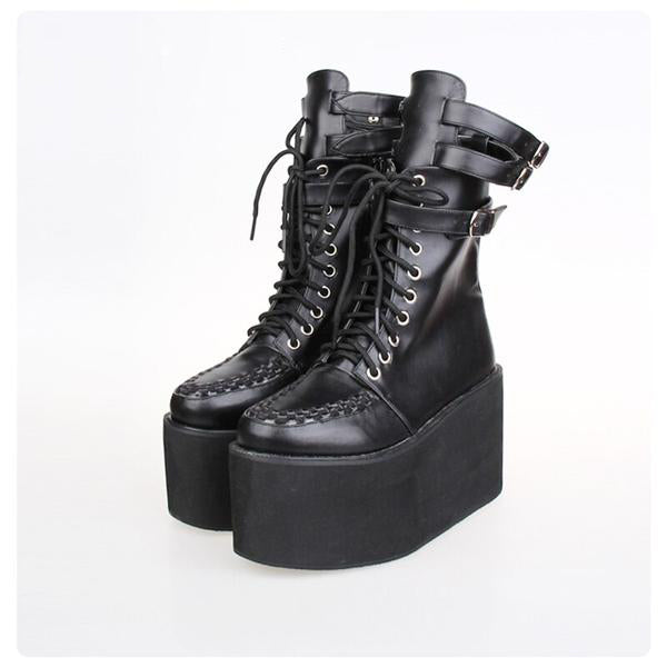 Punk Leather Lace-up Boots