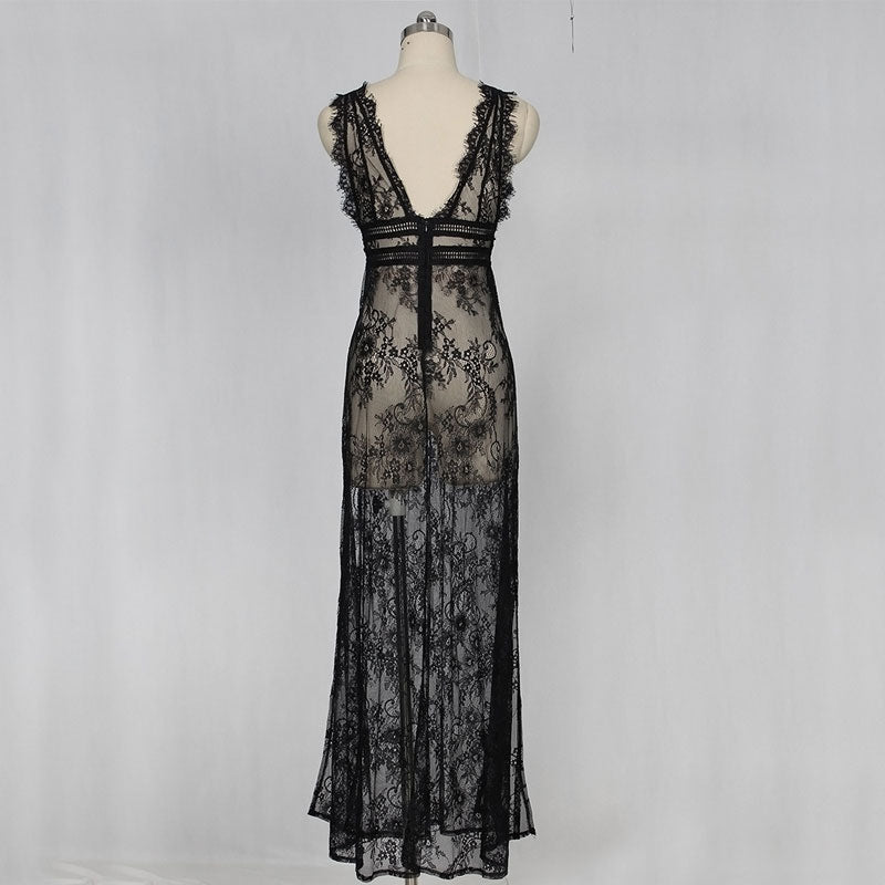 High Split Long Lace Dress