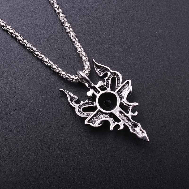 Double Dragon Cross Pendant Necklace Jewelry