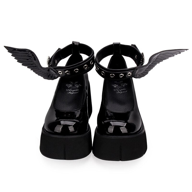 Thick Platform Black Leather Angle Wing Shoes