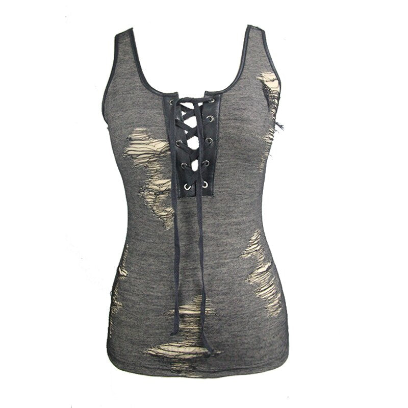 Punk Sexy Tank Tops Hollow Out