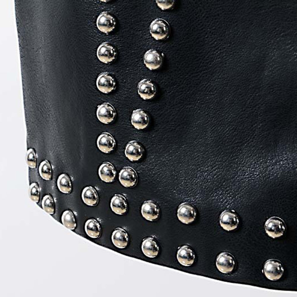 Punk Rivet PU Leather Skirt Women