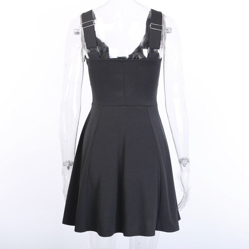 Vintage Gothic Dress Pleated Moon Black