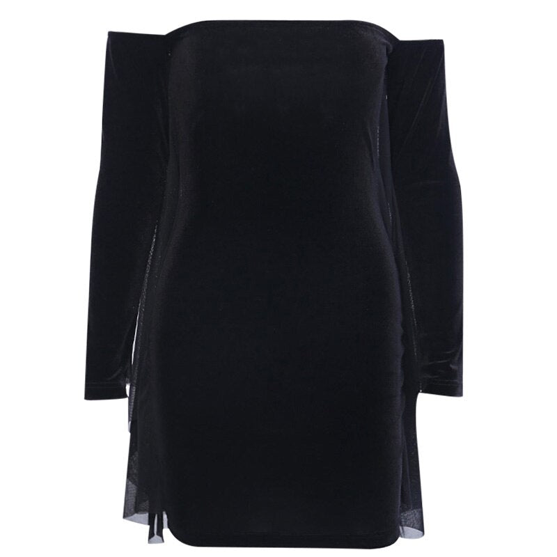 Sexy Shoulder Bodycon Dress Long Sleeve Vintage Party