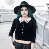 Crop Top Gothic Moon Printed Lady