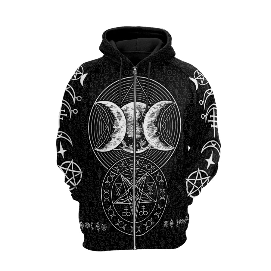 Triple Moon Hoodie Raglan Sleeve Zip-up