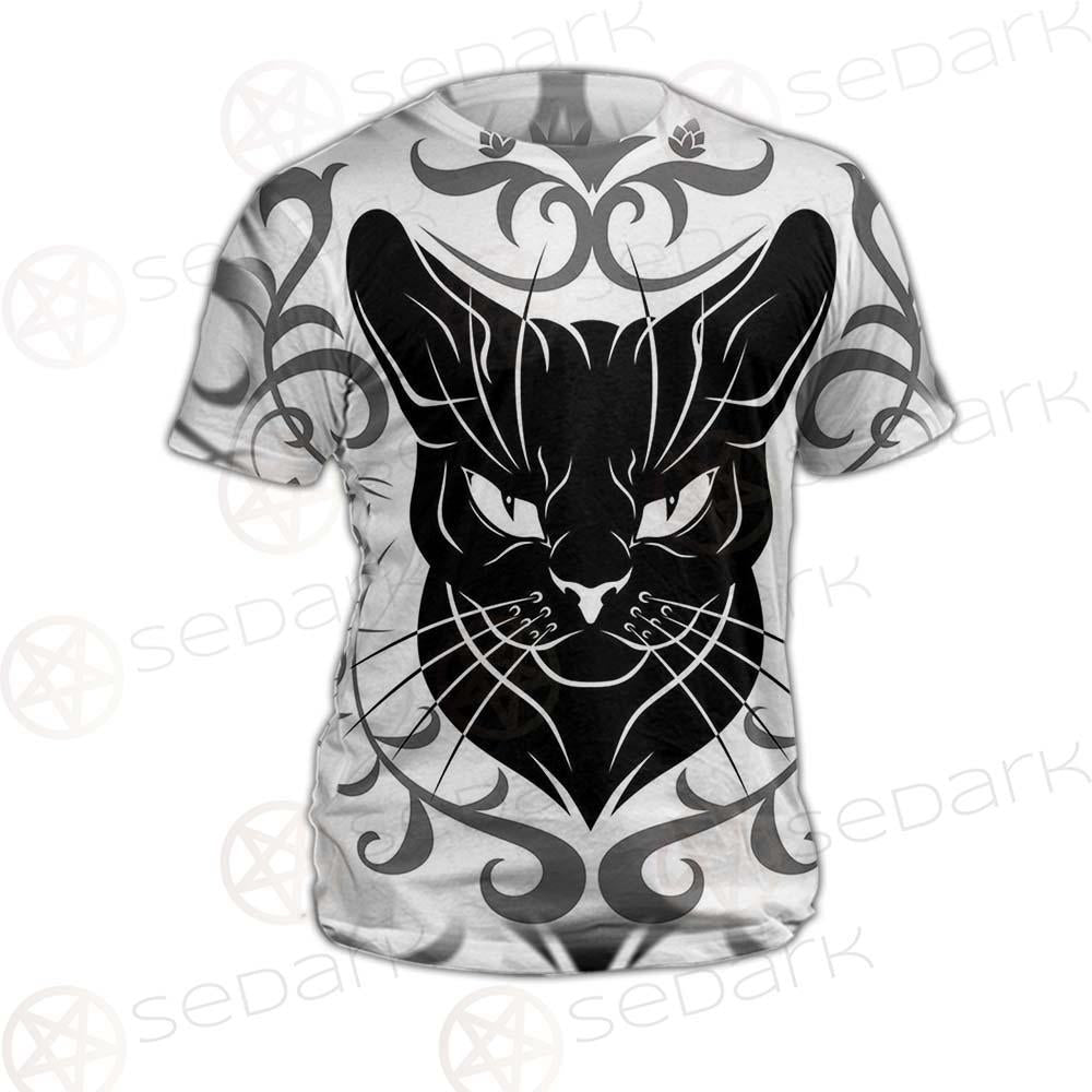 Black Cat Face With Floral Elements. SDN-1054 Unisex T-shirt