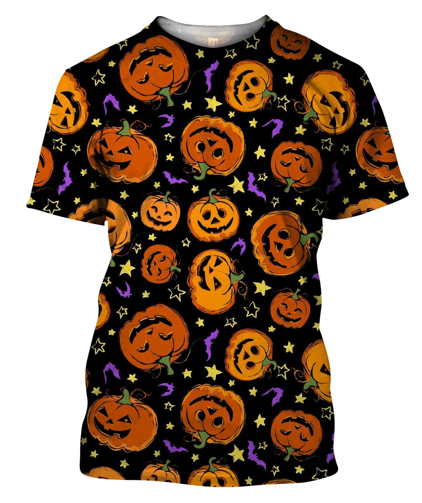Jack Orange Lantern Drawn With Carved Faces T-Shirt