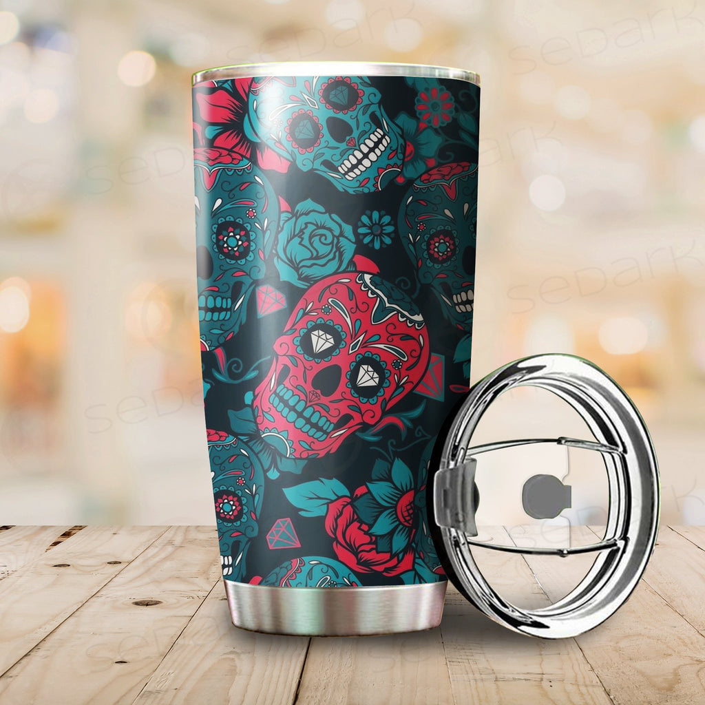 Floral Skull Tumbler Cup