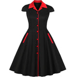 Vintage Black and Red Midi Dress