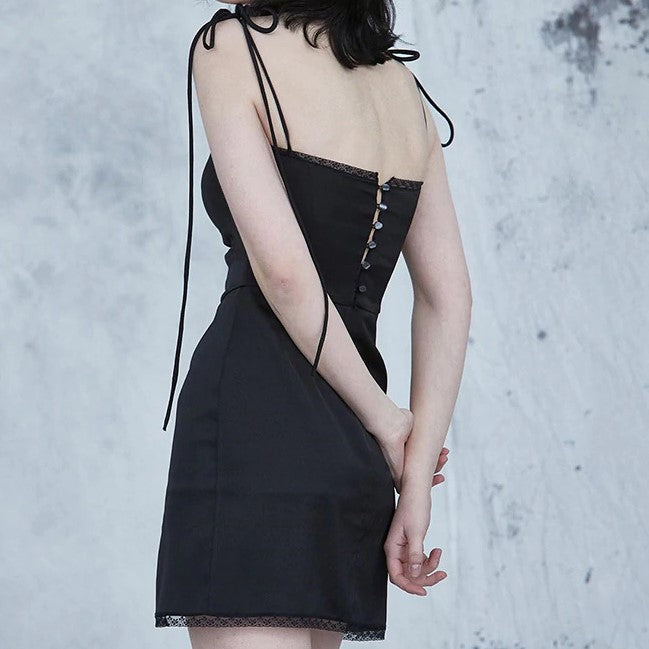 Gothic Solid Dress Strap Spliced
