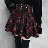 Vintage Black and Red Plaid Skirt