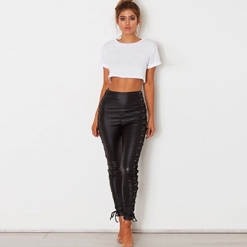 PU Faux Leather Pants Side Lace Up
