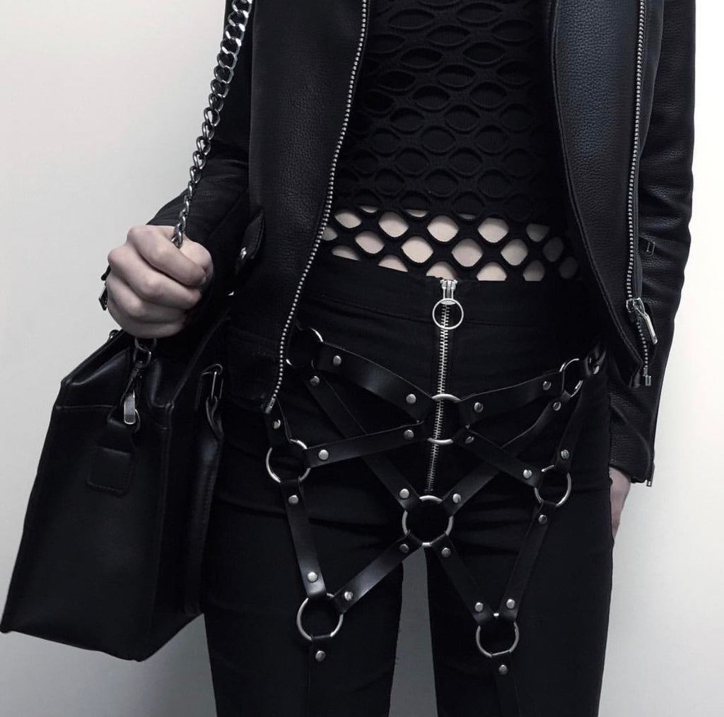Gothic Punk Leather Rock Belt