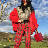 Vintage Plaid Slim High Waist Classic Pants