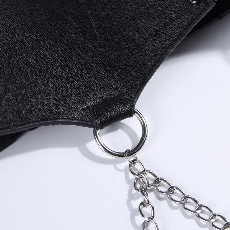 Leather Belt Metal Chain