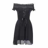 Gothic Black Off Shoulder Sexy Mini Dress