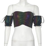 Sexy Colorful Reflective Crop Tops
