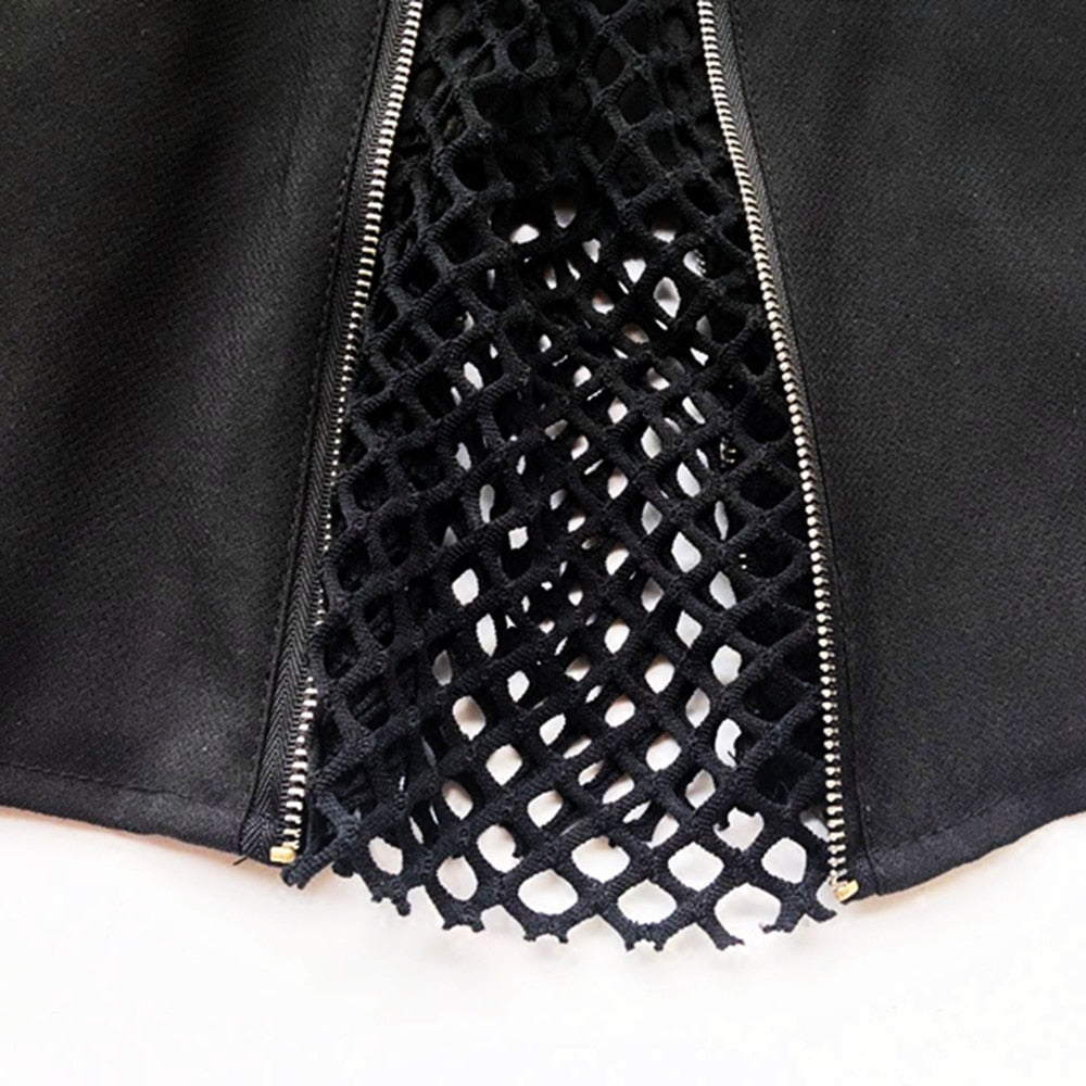 Punk A-line Mesh Hollow Sexy Skirt