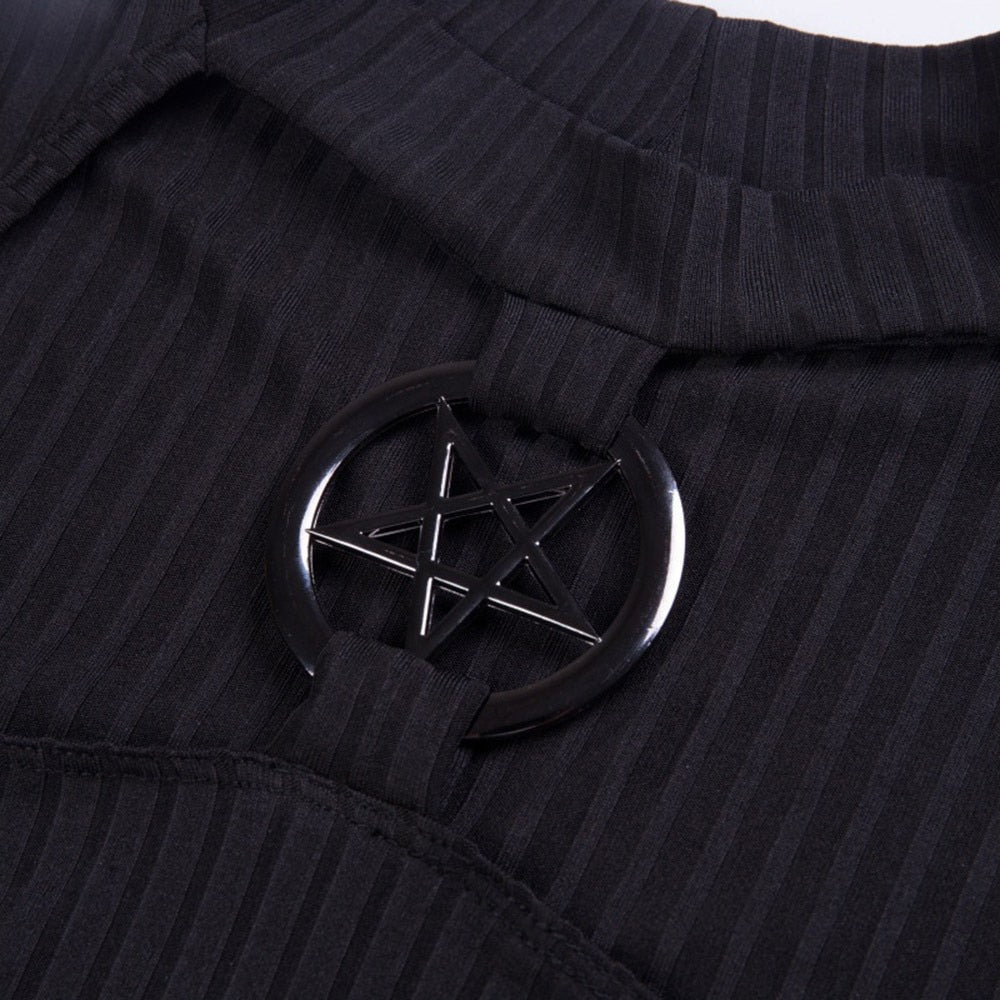 Slim Black Hollow Pentagram Tops