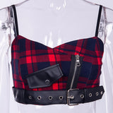 Red Plaid Zipper Strap Tank Top