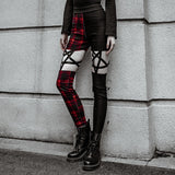 Sexy Red Plaid Pentagram Leggings
