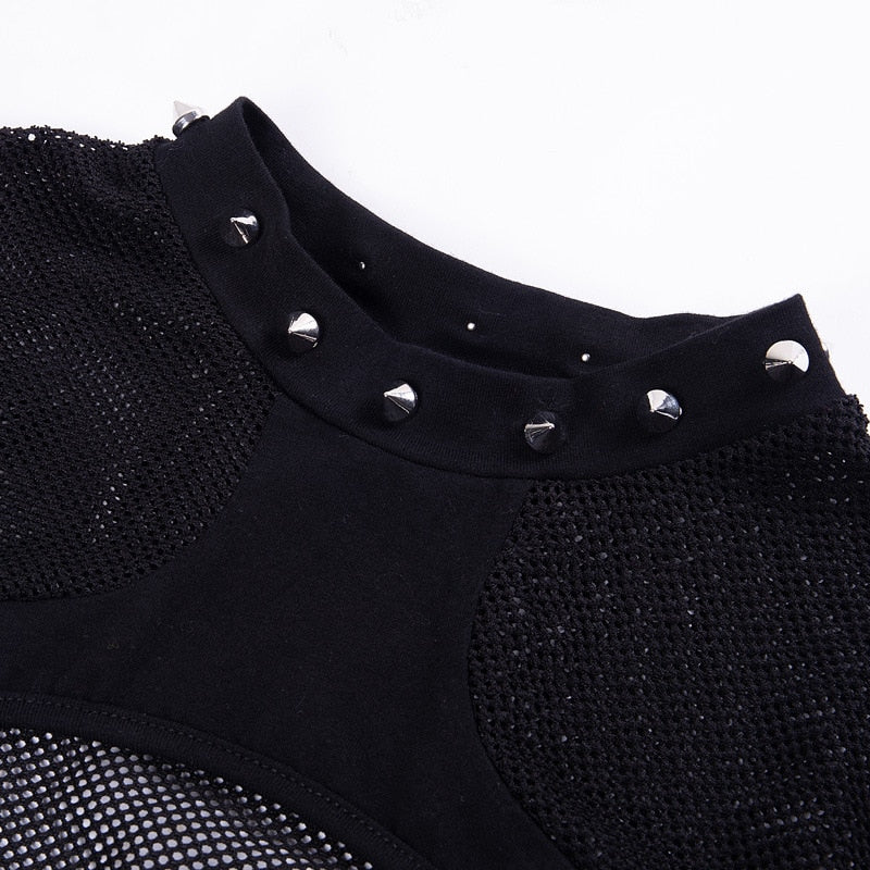 T-Shirt Style Cut Out Hollow Out Mesh