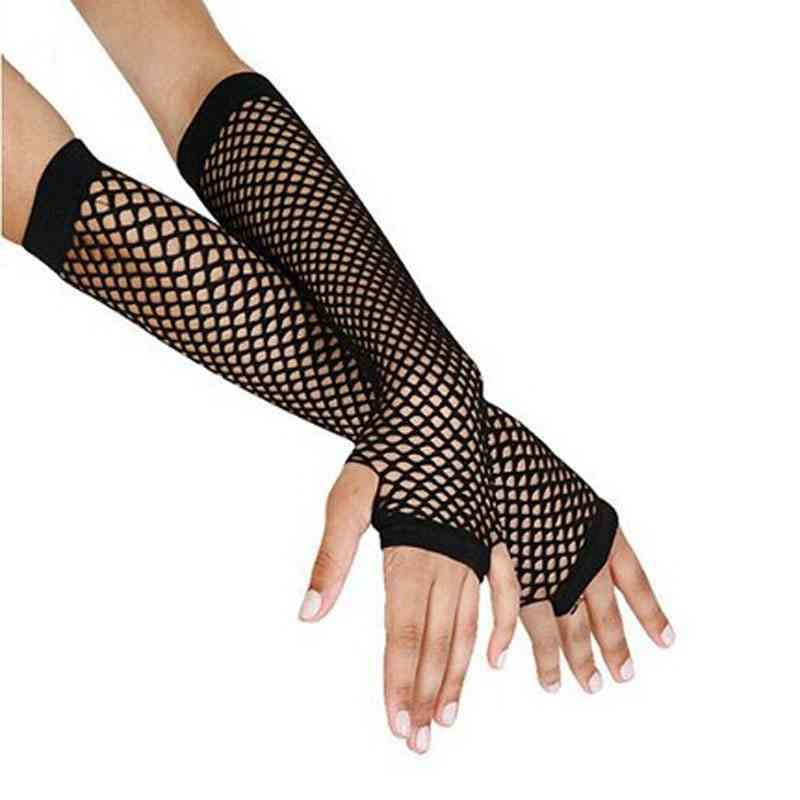 Punk Black Fingerless Mesh Gloves