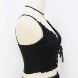 Goth Embroidery V-Neck Black Crop Top
