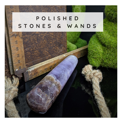 polished crystals and wands