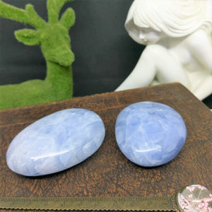 Blue Calcite Palm Stone - Large