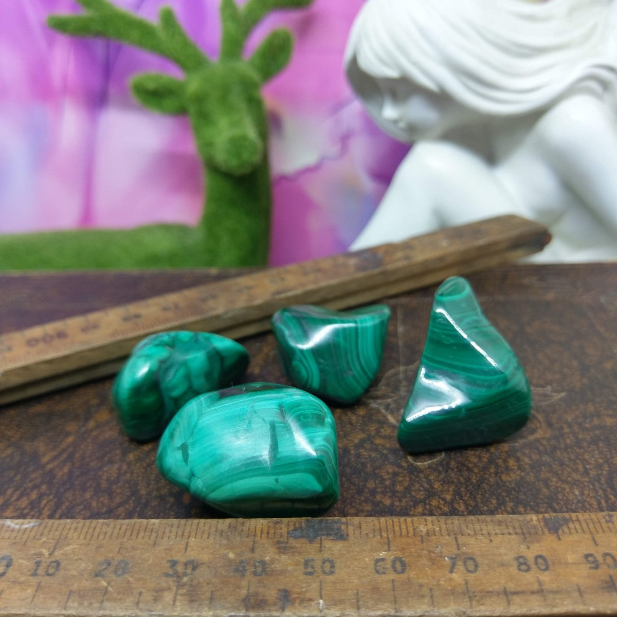 Malachite Tumble Stones - Medium.
