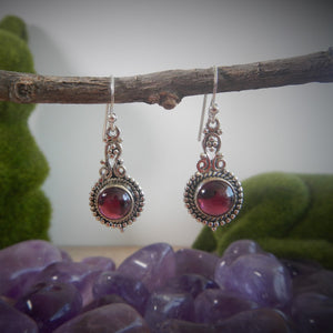 Garnet & 925 Sterling Silver Earrings