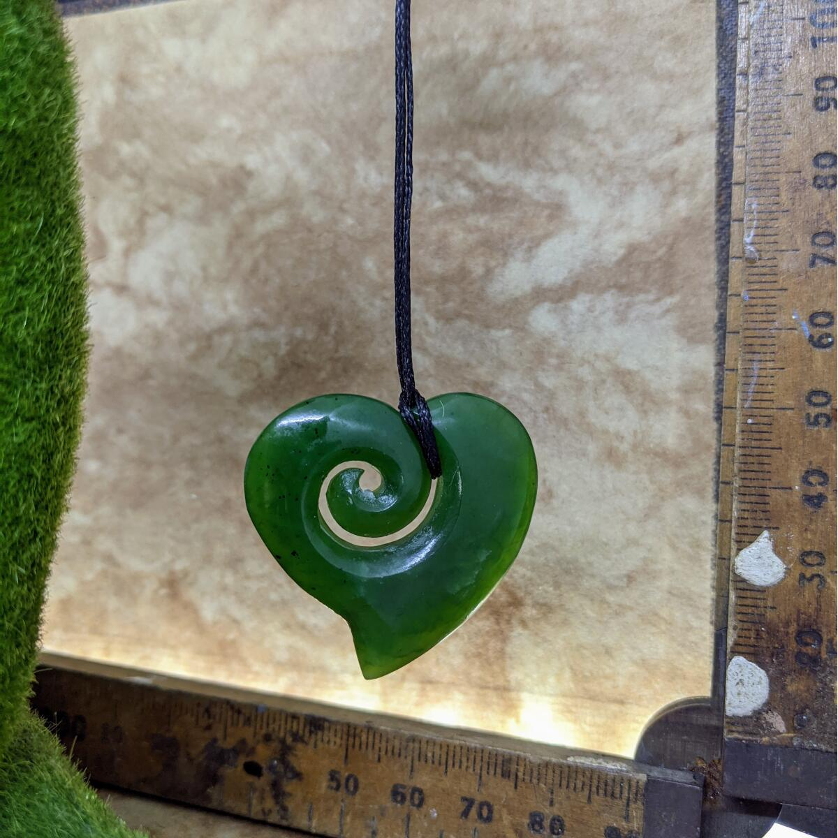 New Zealand Greenstone Heart Koru Necklace 35mm.