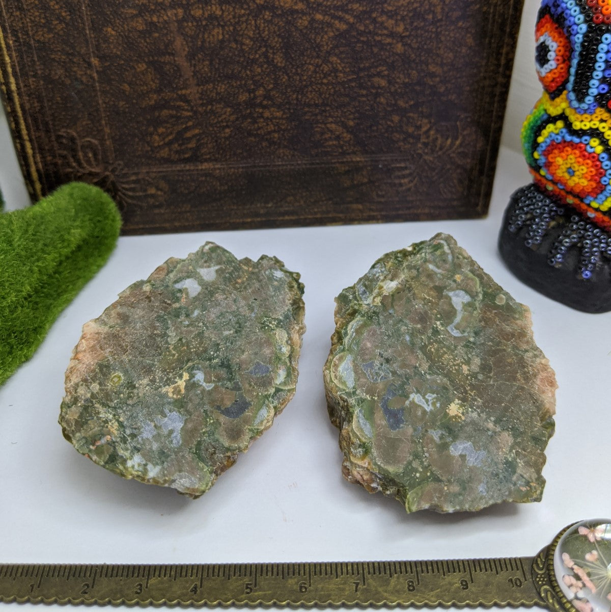 Rhyolite Rainforest Jasper Cluster Pair.