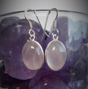 Rose Quartz and 925 Sterling Silver Earrings