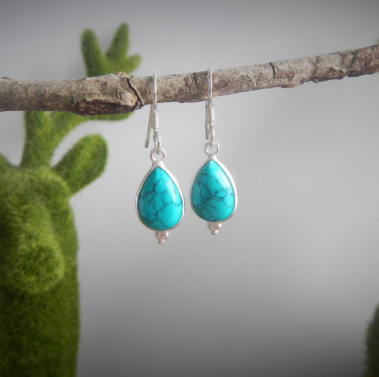 Turquoise & 925 Sterling Silver Earrings.