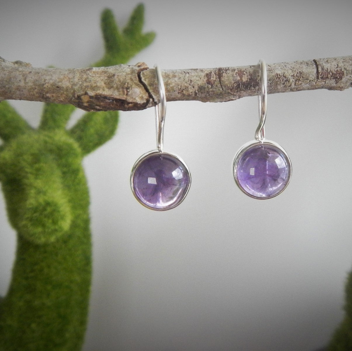 Amethyst & 925 Sterling Silver Earrings.