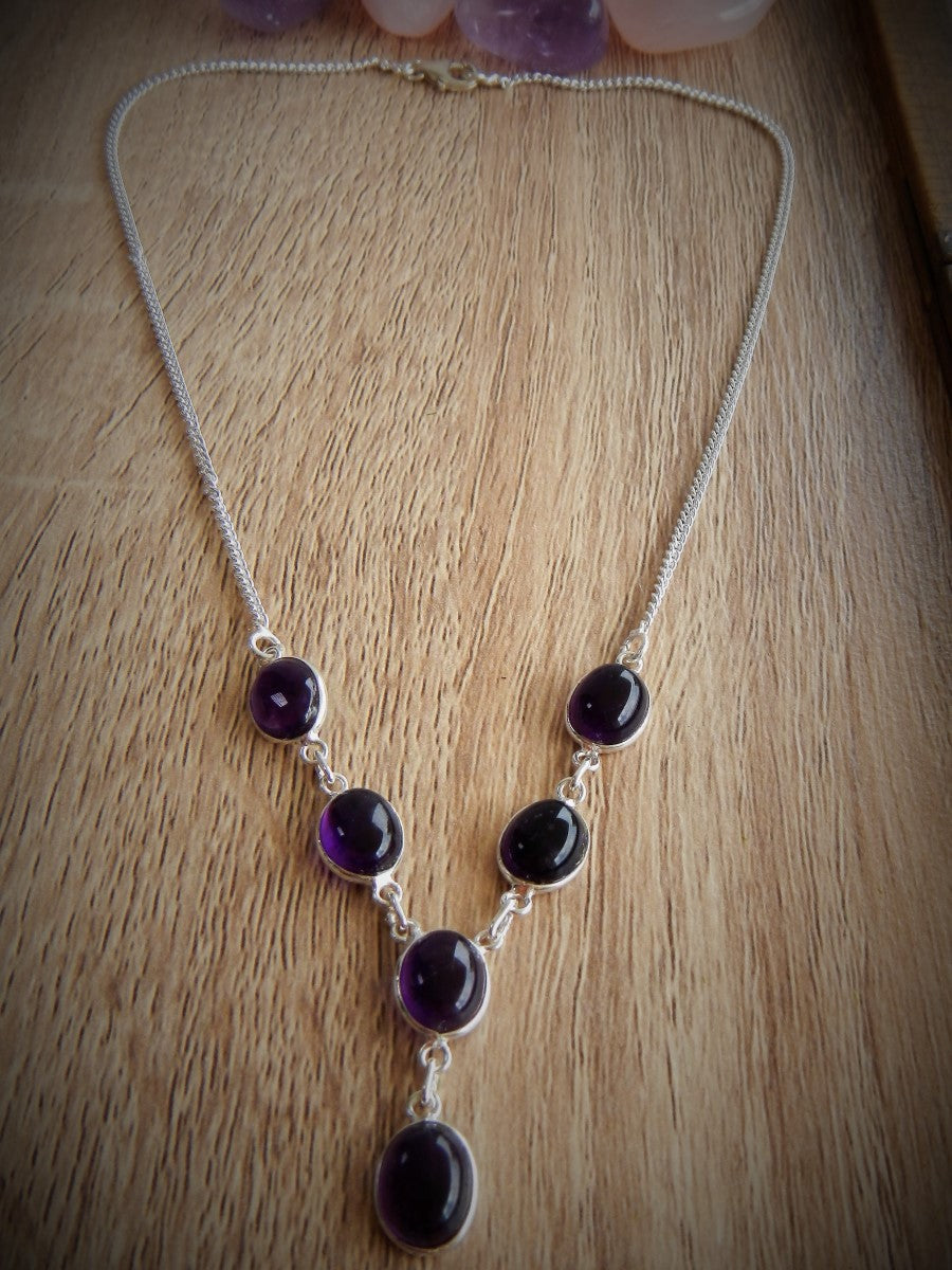 Amethyst & 925 Sterling Silver Necklace.