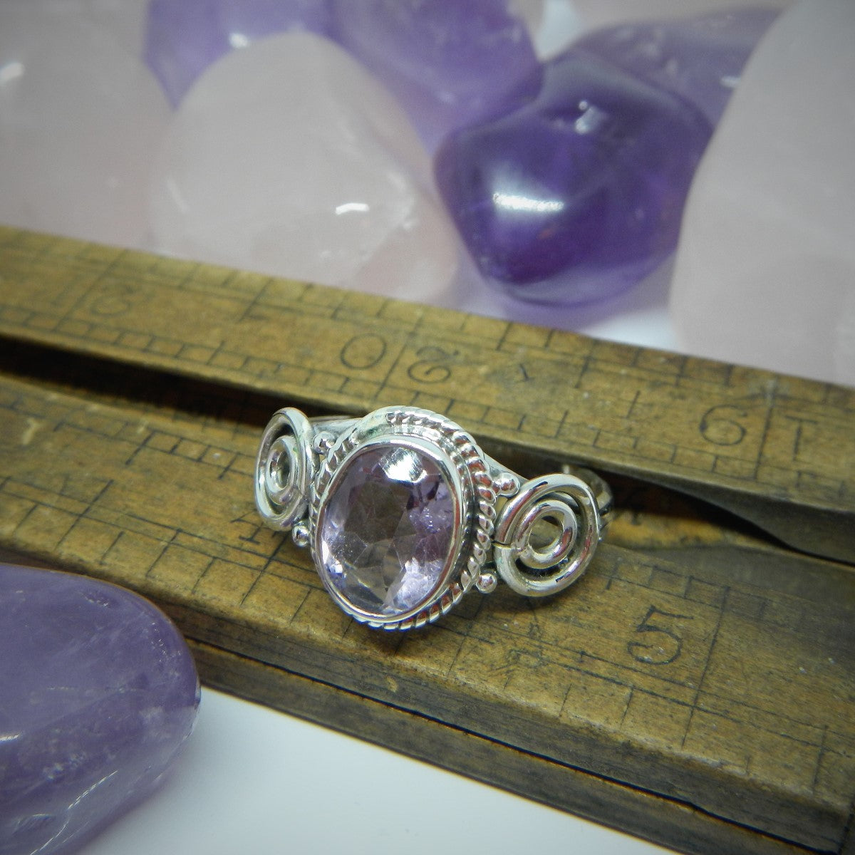 Size 9 Amethyst & 925 Sterling Silver Ring.