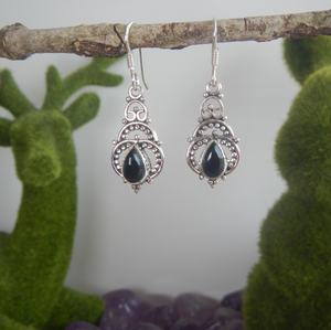 Black Onyx & 925 Sterling Silver Earrings