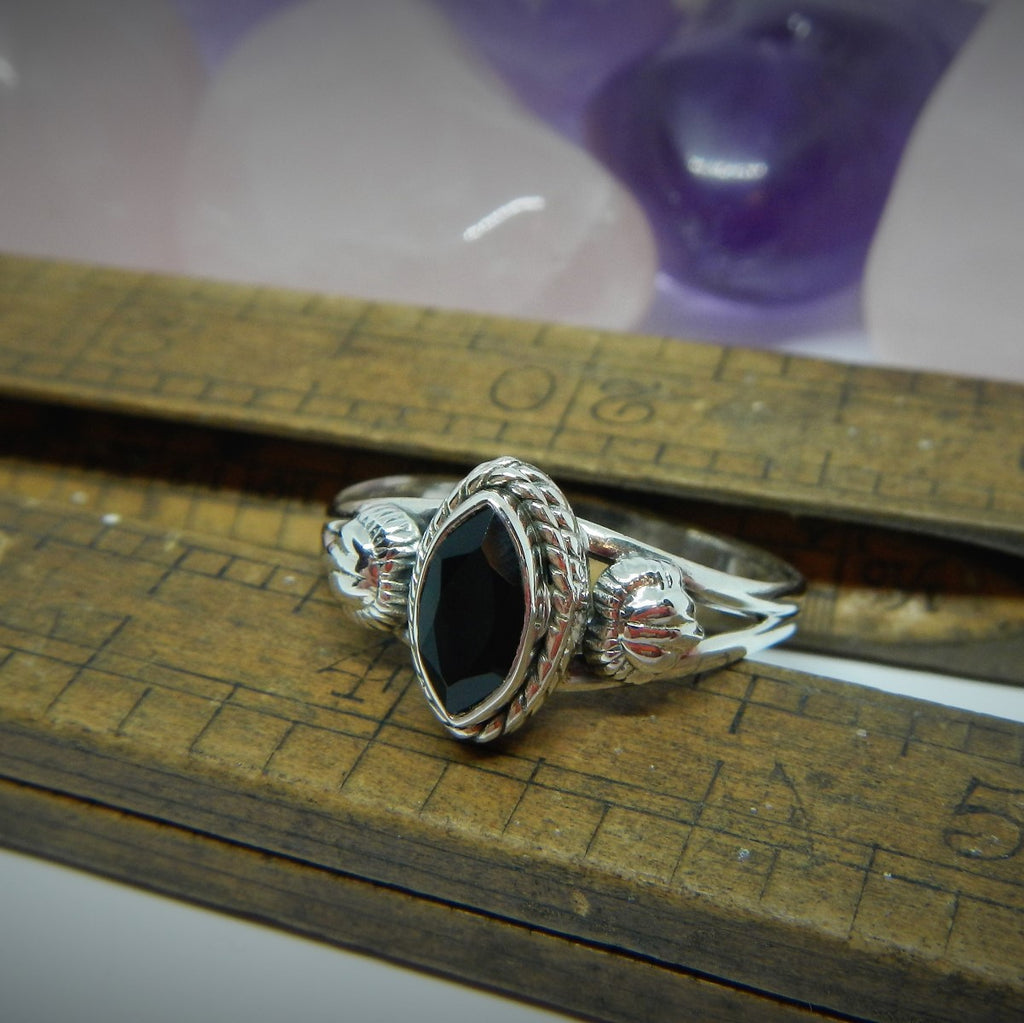 Size 6 - Black Onyx & Sterling Silver Ring #79